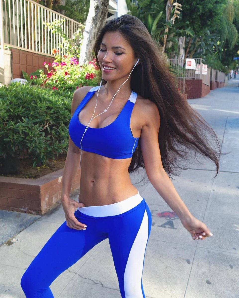 fit girl in blue