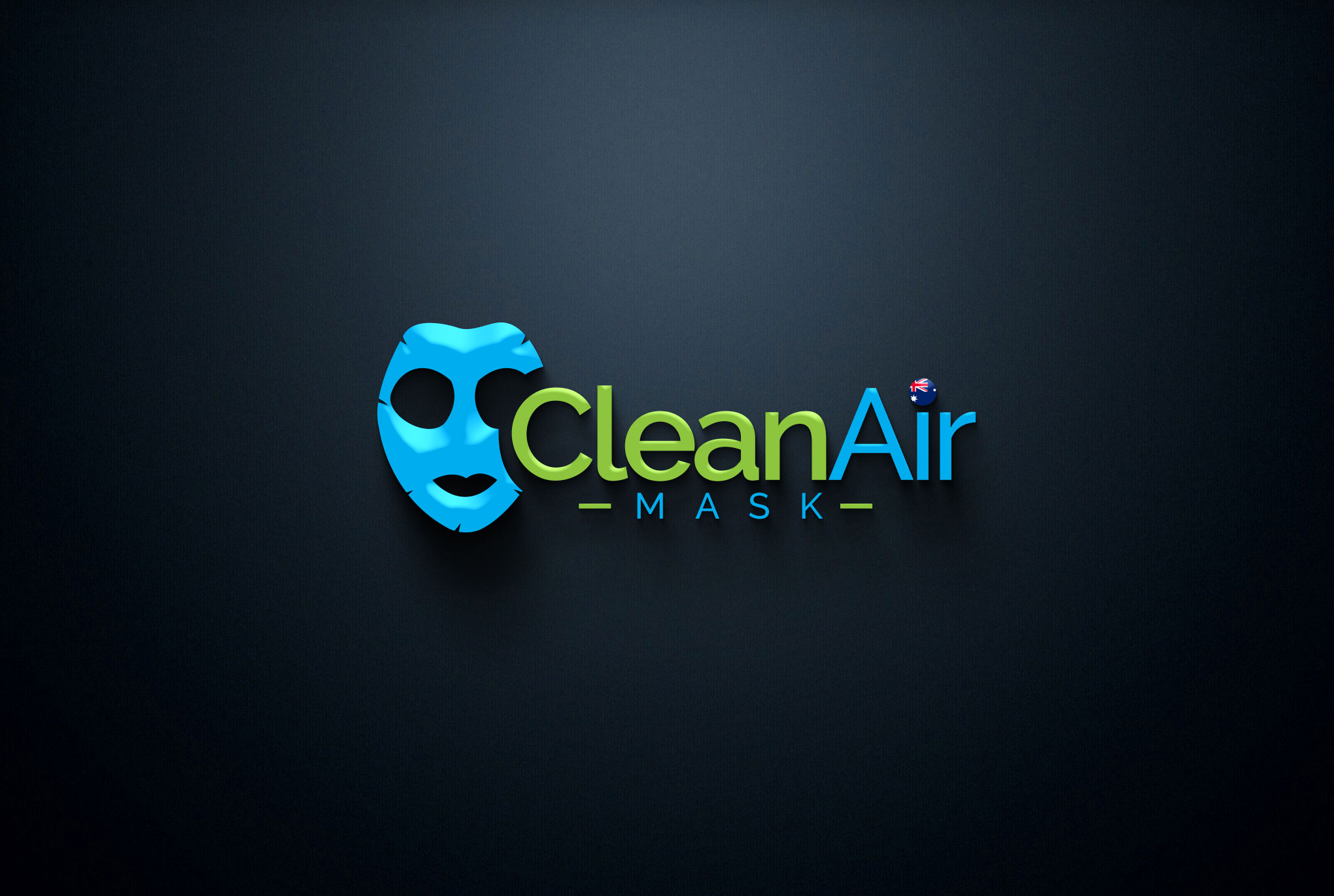 clean air mask black background